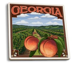 GA - Peach Orchard Scene - LP Artwork (Set of 4 Ceramic Coasters)