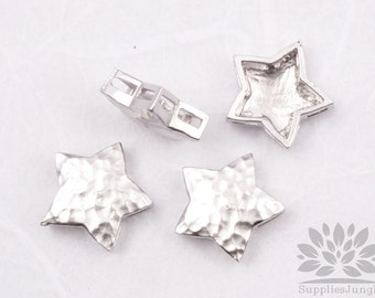 MB026-02-MR// Matt Original Rhodium Plated Star Shape Hammered Metal Beads, 4Pc