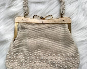 cream beaded lucite handbag