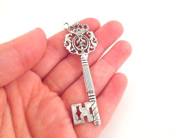 Silver skeleton key pendant charms 70x22.5mm, pick your amount, D182