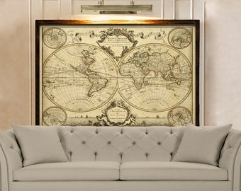 Old world map etsy giant historic world map 1720 old antique style world map fine art print old world map wall map decor house warming gift gumiabroncs Gallery
