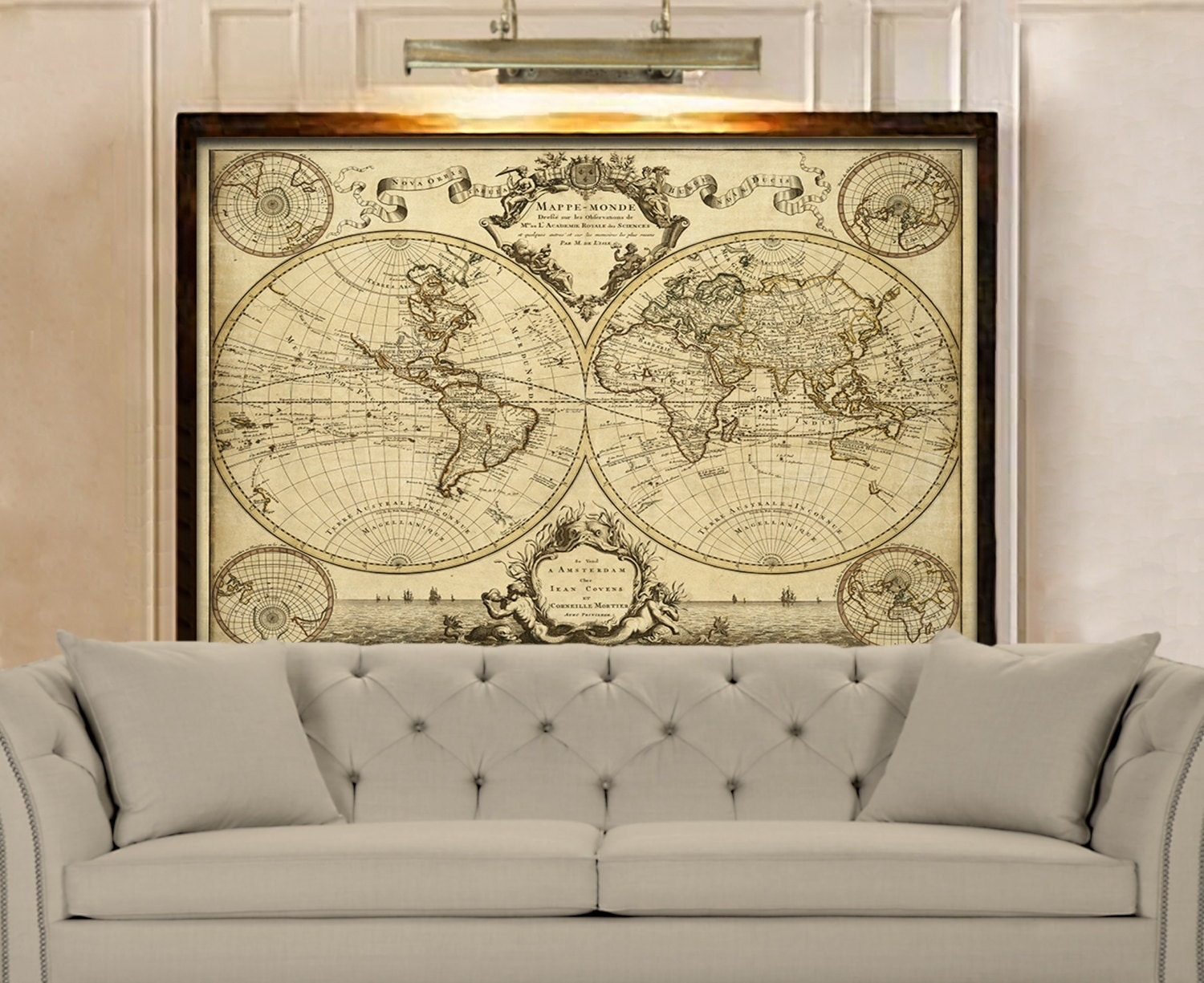 1720 Old World Map Restoration decor Style World Map Guillaume