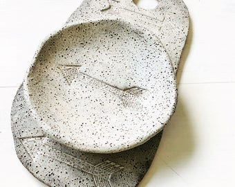 Serving Plate, White Speckled Stoneware, Arrows, Organic,Hand Cut, Gand Shaped, Made in Australia