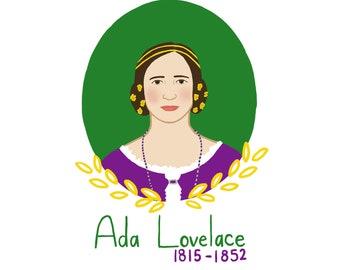 Ada Lovelace Print - Badass Women Print - Math Nerd Gift - Science Nerd Gift - Computer Programmer Gift