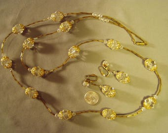 "Vintage 1960s Faceted Crystal Glass Gold Bead Caps 36"" Necklace & Drop Dangle Clip Earrings Set 9425"