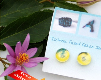 39 Fused glass earrings, transparent yellow