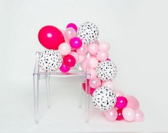 Ballon guirlande Kit - pionnier - brosse rose, noir, abstrait, course ballon guirlande - partie de Bachelorette ballons - ballon Chic Garland