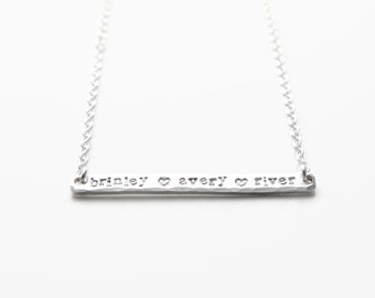 Hand Stamped Three Name Bar Necklace, Sterling Silver Skinny Bar, Custom Three Name Horizontal Bar