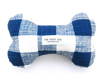 Navy Blue Gingham dog chew toy gift // Modern dog squeaky toy // Bone squeaker toy // Stuffed boy dog toy // Cotton plush toy // Puppy toy