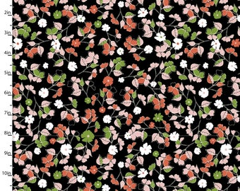 1 YARD Jenean Morrison Summer Skies Ditsy Floral in Black for 3 Wishes Fabric