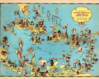 1930's Vintage Caribbean Picture Map of The Caribbean Cartoon Map Puerto Rico and Virgin Islands Print  Map Collector Gift for Traveler RT