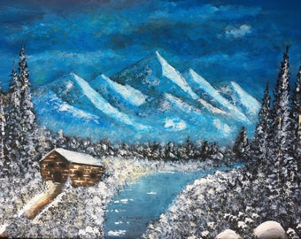 Acrylic Cabin painting,Canadian winter painting, landscaping winter,Canadian  river in winter,Snow Landscaping painting.