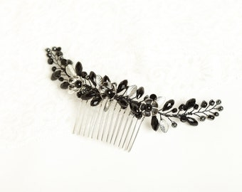Black hair comb Black hair accessories Black headpiece Evening hair piece Black crystal hair comb Bridesmaid headpiece Prom hair comb