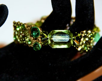 Green Metal Holiday Bracelet