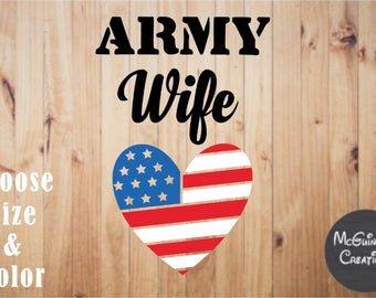 Army Wife American Flag Heart Decal
