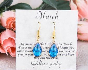 March birthstone Earrings, Gold Teardrop Earrings Blue Aquamarine Gold Earrings March Birthstone Jewelry Bridesmaid Gold Earrings