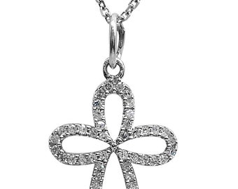 14K White gold and diamond cross pendant with chain