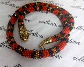 Necklace snake Red Green snake from beads knitted Jewelry beads Red snake Green snake handmade Necklace SNAKE