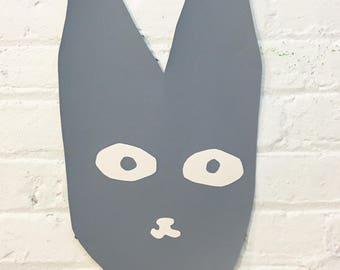 Shaped Screen Print Rabbit Bunny Wall Art