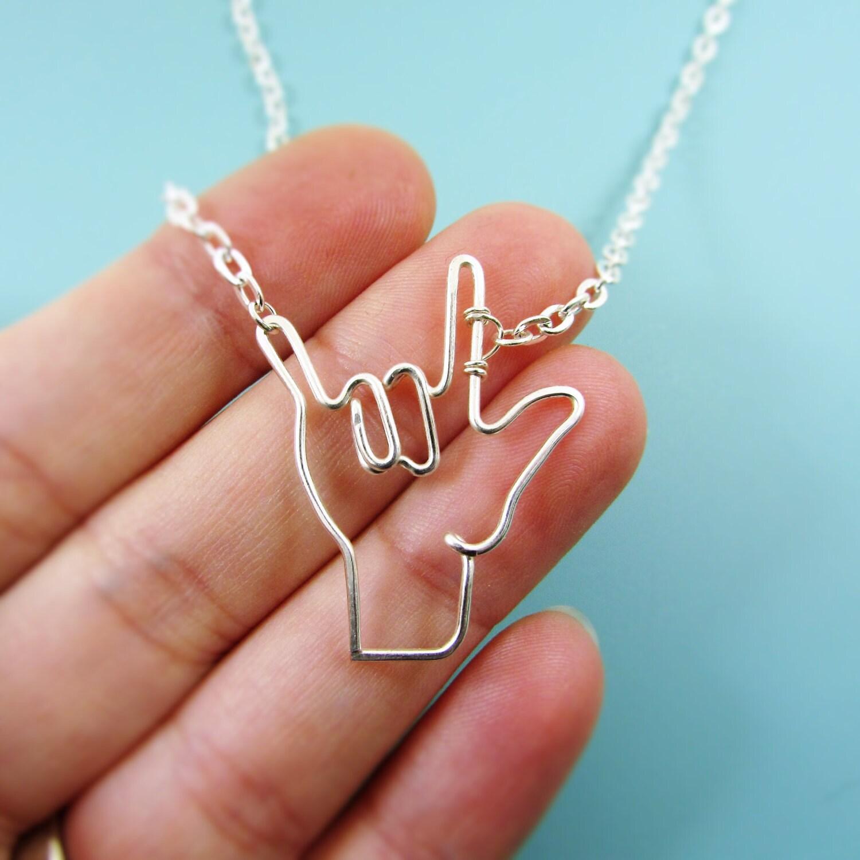 Asl i love you sign symbol necklace deaf sign interpretor zoom buycottarizona Gallery