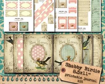 Printable Full Page Journal Kit - Shabby Birdie - Digital Download