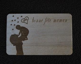 Postcard wood laser-engraved mother's day 1