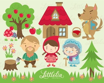 Lil Red Riding Hood Clipart set/ instant download- 13008