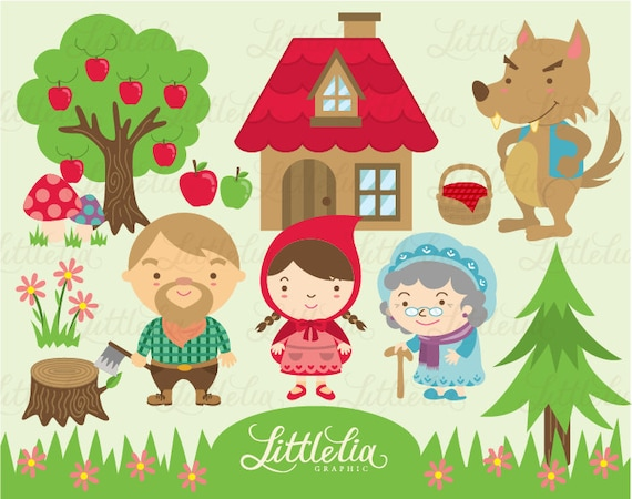 lil red riding hood clipart set instant download 13008 rh etsy com little red riding hood story clipart little red riding hood characters clipart