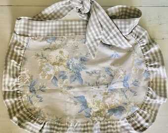 Vintage Apron - Half Apron - Checked - Grey - Vintage Flowers - Blue Flowers - Hand Made - 1950's - Hand Sewn