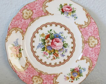 Vintage Royal Albert Bone China 'Lady Carlyle' Pastry Plate, Pink Multicolored Flower Design, England