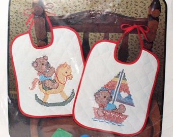 """Vintage Set of 2 Baby Bibs Cross Stitch Kit by Bucilla """"Baby Bears"""" #49157 Stamped Teddy Cubs Baby Shower Rocking Horse Sailboat Boat DIY"""
