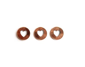 Lucky in Love - 3 Heart Penny - copper wedding decor . lucky charm . pennies from heaven . heart confetti . heart pennies . lucky penny