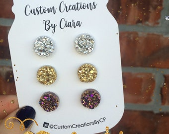 Silver, Gold, Rosegold Druzy Earring Set, Stud Earrings, Faux Druzy Earring, Druzy Earrings , Stone Jewelry, Boutique, Stud Opal, Rose Gold