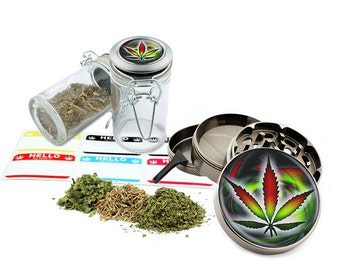 "Leaf Design - 2.5"" Zinc Alloy Grinder & 75ml Locking Top Glass Jar Combo Gift Set Item # 50G102015-31"
