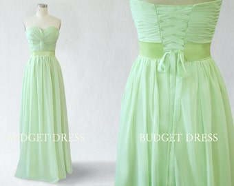 A-line Sweetheart Floor Length Chiffon Prom Dress with Lace-up | Bridesmaid Dresses | Prom Dresses | Long Chiffon Dresses | Mint Green Dress