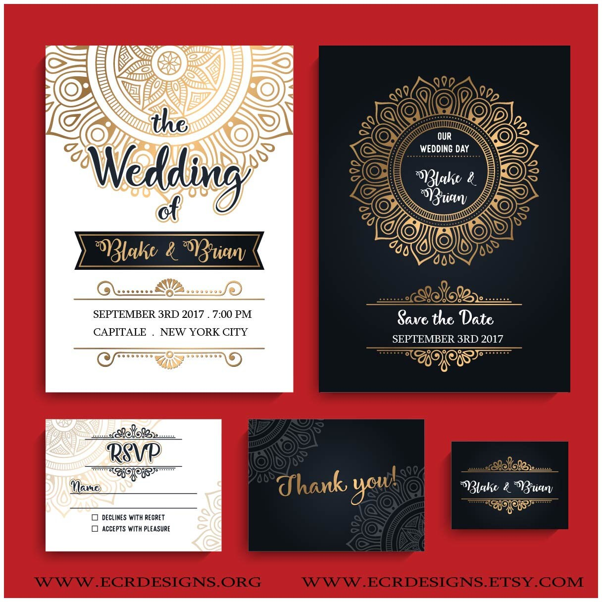 Black White and Gold Wedding invitation. Baroque Anniversary