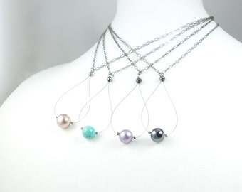 Gunmetal & Glass Pearl Drop Necklaces