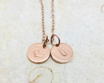 Rose Gold Personalized Heart Necklace, Initial Necklace, Letter U Necklace, Choose your Letter, Mother's Necklace, Hand Stamped Jewelry