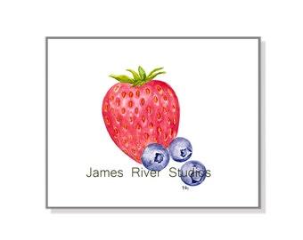 Strawberry Painting Strawberry Art Print. Blueberry Painting Blueberry Strawberry Watercolor Strawberry Blueberry Watercolor Fruit Art Print