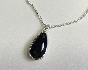 Black Spinel Pear & Sterling Silver Pendant