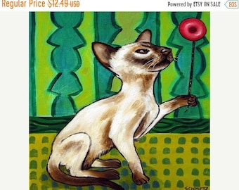 25% off cat tile - cat art - Siamese Cat playing with a Yo-Yo Art Tile Coaster, cat gifts, gift
