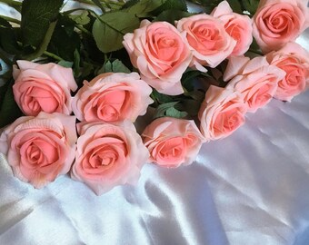 Coral Roses Silk Flowers Real Touch For Bridal Bouquet Coral Wedding Centerpieces 20 Stems Wedding Ceremony Reception Decoration CSW-SH