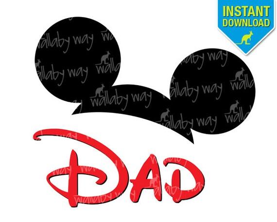 Mickey Ears DAD Disney Printable Iron On Transfer or Use as