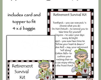 Retirement Survival Kit includes Topper and Card - Digital Printable - Immediate Download