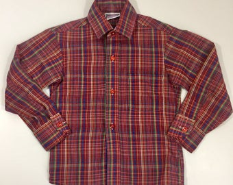 Vintage Boy's Long Sleeve Shirt - Size 6 - Vintage Plaid Shirt - 80's Plaid Shirt - Button Down Shirt - Kids Vintage