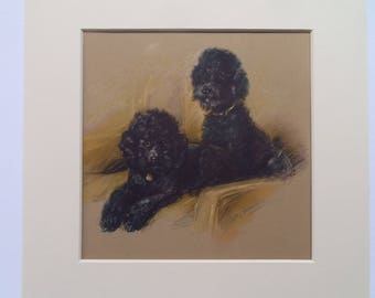 "Poodle dog print by Lucy Dawson dated 1935 in 9""x9"" mount ready to frame"