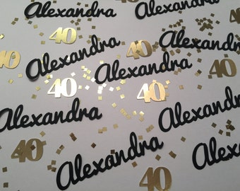 40th Birthday Party Confetti - Personalized Confetti in your choice of color with Silver or Gold Glitter Squares