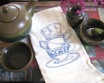 Embroidered Tea Towel- Eco Friendly Unbleached Cotton- Choose Your Thread Color - Teacup Tower