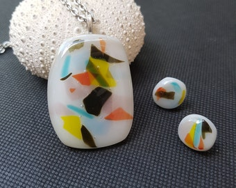 Jewellery Set White and Multi-Coloured Fused Glass Pendant and Earring Set by AMEArtistry2017, Gift Idea, Necklace,