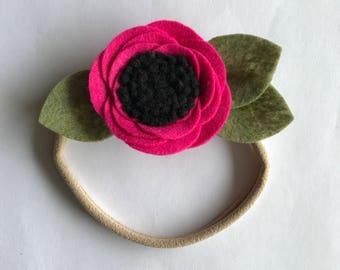 Hot Pink Felt Flower Headband or Clip